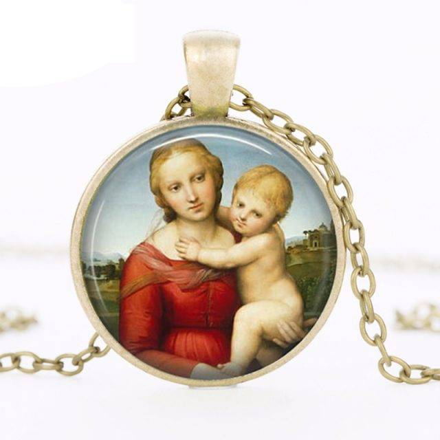 Vintage Handmade Madonna Pendant Necklace By Italian Artist