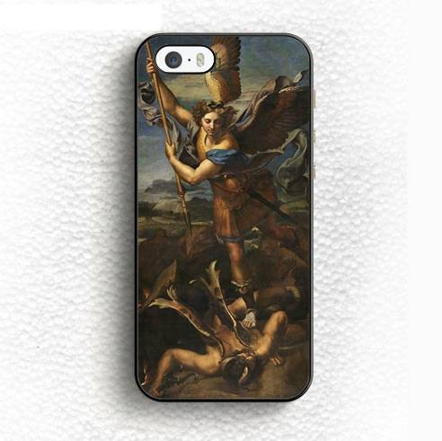 Saint Michele Defeats Satan Phone Cases for iPhone and Samsung